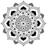 Mandala van de het elementenbloem van de Mehndihenna Indische voor tatoo of kaart stock afbeelding