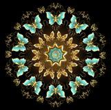 Mandala van gouden vlinders stock illustratie