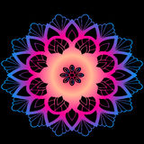 Mandala van het kleurenneon - Indische stijl, vakantieholi Royalty-vrije Stock Fotografie