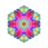 Mandala variopinta astratta, fiore isolato su fondo bianco, fioritura multicolore, mandala esoterica del petalo Fotografie Stock