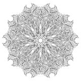 Mandala Vector Card On White Background. Coloring Book Page For Adults And Kids. Children And Animals. Black And White. Royalty Free Stock Photography