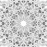 Mandala vector card on white background. Coloring book page for adults and kids. Children and animals. Black and white. Royalty Free Stock Photo