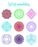 Mandala Vector Design Elements Décoration ronde d'ornement Modèles de fleur colorés Copie de tatouage Photos stock