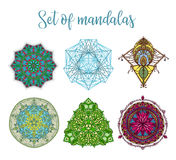 Mandala Vector Design Elements. Round ornament decoration. Colorful flower patterns. Tattoo print Royalty Free Stock Photography