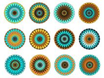 Mandala, vector images editable EPS AI vector clipart. Nfloral mandalas blue yellow turquoise brown white royalty free illustration