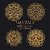 Mandala vector logo elements set. Collection of ethnic ornaments luxury design royalty free stock images