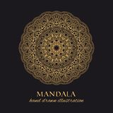 Mandala vector luxury illustration. Golden decorative ornament royalty free illustration