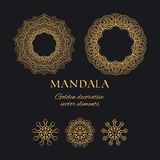 Mandala vector luxury illustrations set. Golden circle decorative ornaments and frames royalty free illustration