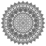 Mandala vector monochrome design, Aboriginal dot painting style, Australian folk art boho style. Mandalas dot pattern in black and white inspired by traditional stock illustration