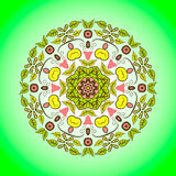 Mandala. Vector ornament in yellow and green lime colors. Round decorative element for your design Stock Image