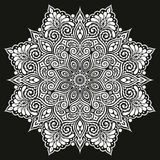 Mandala Vector-tatoegering Perfecte kaart voor verjaardag en ander vakantie, caleidoscoop en kleurend boek Stock Fotografie