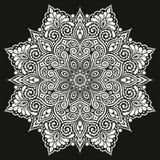 Mandala Vector tatuering Det perfekta kortet för födelsedag och annat semestrar, kalejdoskopet och färgläggningboken Arkivbild