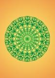Mandala verde em um fundo amarelo Símbolo espiritual abstraia o fundo Fotografia de Stock Royalty Free
