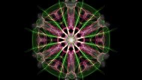 Mandala verde y púrpura, animación del fractal en el fondo negro, ornamento decorativo hermoso ilustración del vector