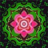 Mandala vert et rose Photographie stock libre de droits