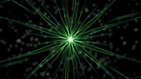 Mandala video with bokeh lights, composed from rotating green rays on black background