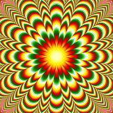 Mandala vif de fleur avec l'effet d'illusion optique photos stock
