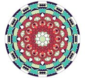 Mandala in vivid colors for enenrgy obtaining. An aid to meditation exercises, red and green geometric pattern, eps10 vector Stock Photo