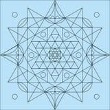 Mandala vlak voor het kleuren van vectorillustratie Stock Foto