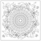 Mandala w kwiaty i okrąg royalty ilustracja