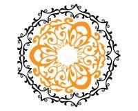 Mandala wektorowy czarny, pomarańczowy i ilustracji