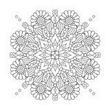 Mandala or whimsical snowflake line art design Stock Photos