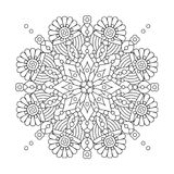 Mandala or whimsical snowflake line art design Stock Photo