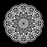 Mandala white ornament isolated on black background. Stock Photos