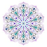 Mandala on white, purple, green and blue. vector image for labels royalty free illustration