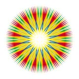Geometric colorful mandala star with Aum / Ohm / Om sign in the center. Vector drawing. Geometric colorful mandala star with Aum / Ohm / Om sign in the center stock illustration