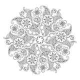 Mandala z kwiatami i liśćmi odizolowywającymi na białym tle ilustracja wektor