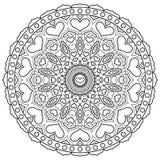 Mandala z sercami dla kolorystyki książki strony Kurenda symetryczna ilustracji