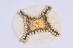Mandala zboża, adra i ziarna, Bezpłatny pojęcie Kukurudza, chickpea, amarant, soczewicy, ryż, chia zdrowa żywność Odgórny widok fotografia royalty free