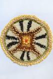 Mandala zboża, adra i ziarna, Bezpłatny pojęcie Kukurudza, chickpea, amarant, soczewicy, ryż, chia zdrowa żywność Odgórny widok obrazy royalty free