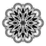 Mandala, zentangle εμπνευσμένη απεικόνιση, γραπτή Στοκ φωτογραφία με δικαίωμα ελεύθερης χρήσης
