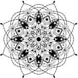 Mandala, zentangle εμπνευσμένη απεικόνιση, μαύρη Στοκ Εικόνες
