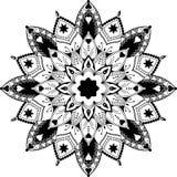 Mandala, zentangle εμπνευσμένη απεικόνιση, μαύρη Στοκ Φωτογραφίες