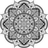 Mandala, zentangle inspired illustration, black Stock Image