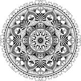 Mandala, zentangle inspired illustration, black. And white antistress colouring page, vector illustration, eps 10 stock illustration