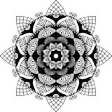 Mandala, zentangle inspired illustration. Mandala, zentangle inspired, highly detailed illustration, black and white antistress colouring page, with 3d effect stock illustration