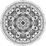 Mandala zentangle inspirerad illustration, svart Arkivbild