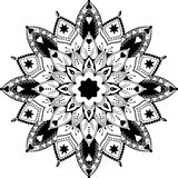 Mandala, zentangle spornte Illustration, Schwarzes an Stockfotos