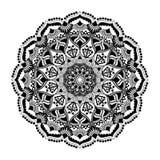Mandala zwart ornament dat op witte achtergrond wordt geïsoleerd Royalty-vrije Stock Foto