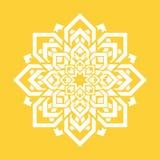 Mandalabloem Het vectorelement van het yogaontwerp Rond bloemensymbool Wit en geel Vers idee voor yogaleraren, meditatie teache royalty-vrije illustratie