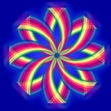Mandalabloem, regenboogkleuren in cirkels over blauw Stock Foto