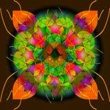 MANDALABLOMMA OCH SIDOR, MED STJÄRNOR som ÄR LJUSA - grönt, ORANGE, PURPURFÄRGAT som VÄVER LINJER royaltyfri illustrationer