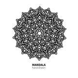 Mandalablumen-Vektorzeichnung Dekoratives boho runde Verzierung Stockfoto