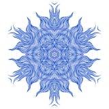 Mandaladesign eller snöflinga i mörker - blått Arkivfoto