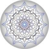 Mandaladesign i silvrig grått och blått royaltyfri fotografi