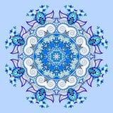 Mandalaen blått cirklar dekorativt andligt indiskt symbol av lotusblomma royaltyfri illustrationer